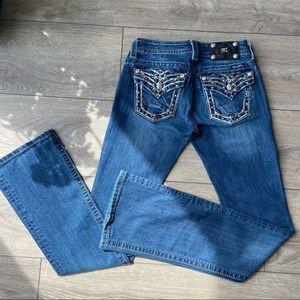 Miss Me Signature Rise Bootcut Flap Pocket Jeans